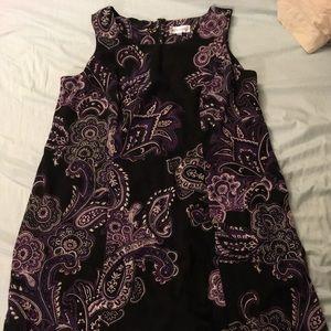 Purple and black paisley print dress